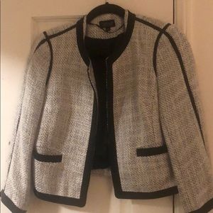 Topshop black and white tweed blazer